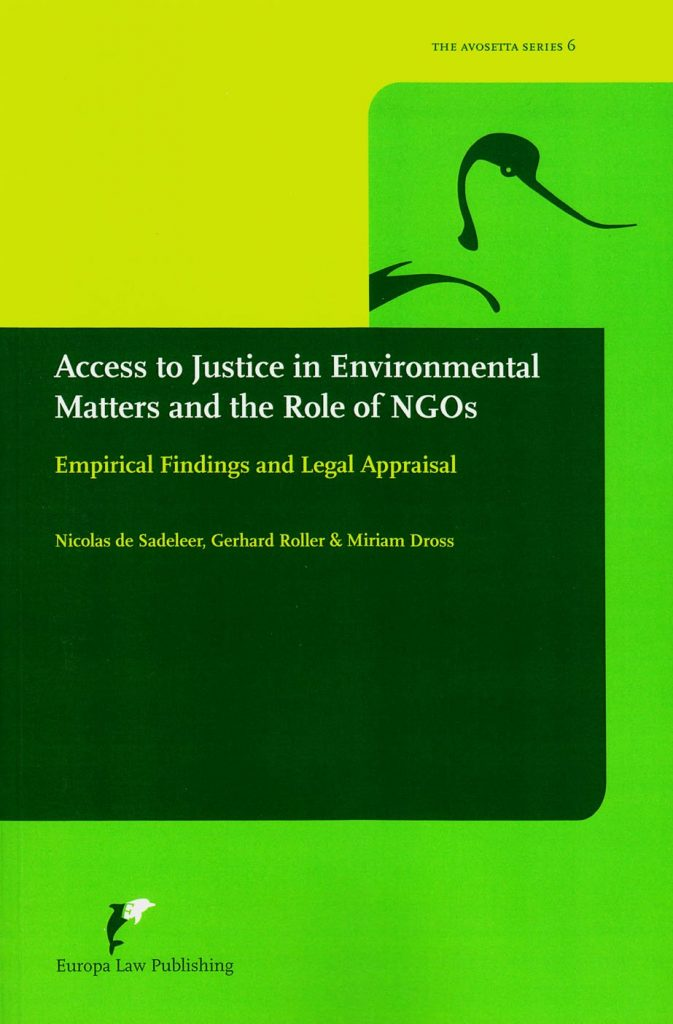 Book Cover: Access to Justice in Environmental Matters and the Role of NGOs